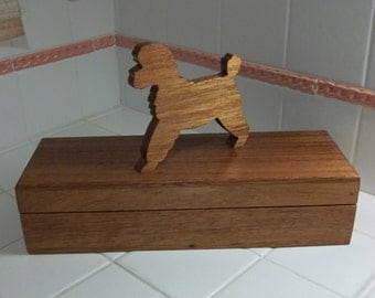 "Vintage 50s Handmade 14"" Long Wooden Box w Figural Poodle Lid Handle~Trinkets Gloves Jewelry...UNIQUE!"
