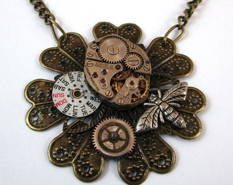Steampunk Jewelry, Necklace, Vintage Watch Movement, Swarovski Crystal, Bronze, Bumblebee, Victorian Jewelry, Upcycled Jewelry, OOAK, Unique