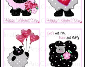 Valentines Day Cards Sheepy Sheepy Sheepy - kids classroom exchange DIY Printing Sheep hearts balloons flowers Jpg & Pdf{Instant Download}