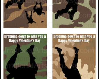 Sky Divers Valentines Day Cards set 2 - for kids class exchange DiY Printing - paratroopers military silhouettes Jpg & Pdf[Instant Download]