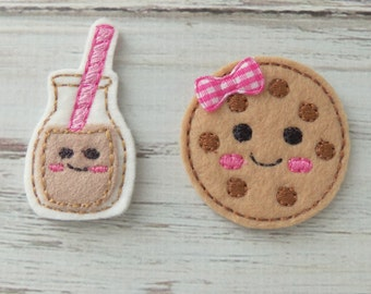 Milk and Cookie Felt Appliques, Cookie and Milk Appliques, Felt Embroidered Chocolate Milk and cookie, Milk and Cookie Felties