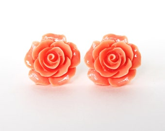 Peach rose flower resin post earrings CLEARANCE