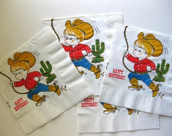 Vintage Cowboy Paper Napkins, 4, Happy Birthday Cowboy with Horse