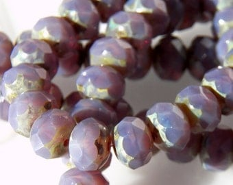 Czech Violet Opal Picasso Glass Rondelle Beads 8x6mm (25) 0631