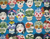 GOTAS de Amor Royal Blue FRIDA KAHLO Alexander Henry Cotton Fabric by the Yard, Half-yard, or Fq Fat Quarter Day of the Dead Skulls