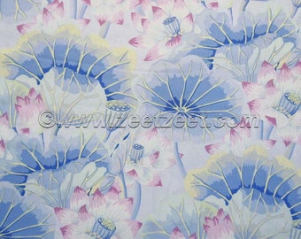Kaffe Fassett LAKE BLOSSOMS Sky Blue Yellow Lilac GP93 Quilt Fabric - by the Yard, Half Yard, or Fat Quarter FQ