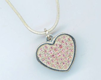 Silver Plated Heart Pendant . Charm Pendant . Pave-set Pink Crystal Tiny Rhinestones . Snake Chain-  Evening Beauty by enchantedbeas on Etsy