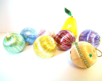 Vintage 70's Woven and Sparkle Christmas Tree Baubles - Set of 8