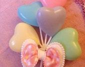 Pastel Heart Balloons Sweet Lolita Fairy Kei Bow Necklace