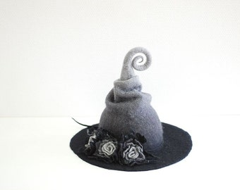 Witch hat wizard hat with flowers felted from wool black grey  Halloween costume, LARP, Fantasy costume CUSTOM MADE choose your own colors