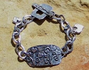 Artisan Jewelry Handmade Rustic Flower Link Sterling Silver Bracelet