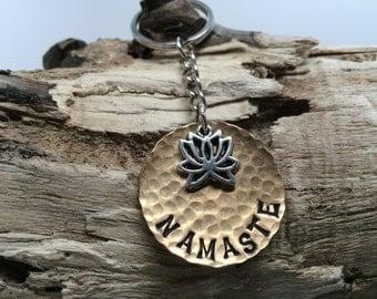 Hammered Namaste Keychain