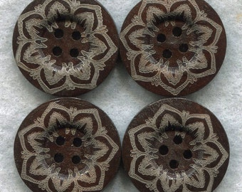 Brown Buttons Decorated Lacy Flower Wooden Buttons 24mm (1 inch) Set of 8/BT243