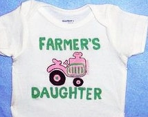 Farmers Daughter Baby Bodysuit, Baby Girl Tractor One Piece, Pink Tractor Bodysuit, Country Baby, Farm Baby Girl