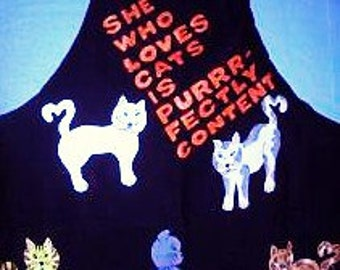 Cat Lover's Apron - Handpainted