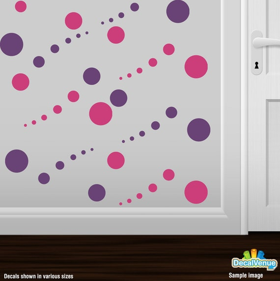 items similar to hot pink and purple polka dot wall decals circles vinyl stickers peel stick. Black Bedroom Furniture Sets. Home Design Ideas