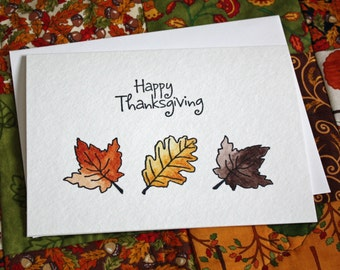 Handpainted Watercolor Thanksgiving Greeting Card
