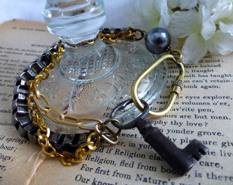 Vintage Key Multi-Chained  Bracelet - Steampunk Glam Vintage Upcycled Jewelry - OOAK Key Bracelet