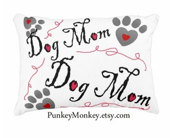 Dog Mom toss pillow for dog lovers paw print pillow pet lover gift mommy adoption rescue custom pillow hearts paw prints mom mommy mama