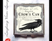 Pill Box - Raven Compact Mirror - Potion Label Crow's Caw Compact - Crow Mirror - Raven Pillbox - Magic Potion - Magic Spell- Witch Potion