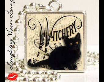 Halloween Necklace - Witch Jewelry - Halloween Jewelry - Witch Necklace - Black Cat Necklace - Witchery Photo Pendant