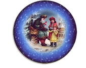 Germany Papier Mache 3 Inch Christmas Ball Box Ornament Santa And Children Paper Mache Storage