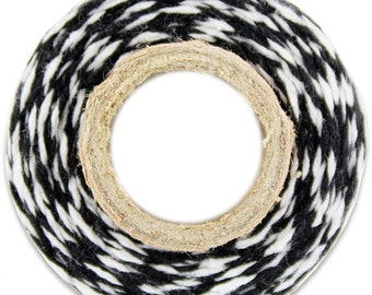 Classic Black Bakers Twine - 100 yards of black and white stripe twine