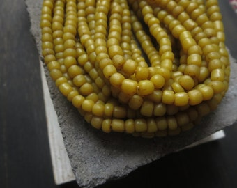Small yellow seed beads opaque gritty mustard glass beads organic ethnic tube barrel , New Indo-pacific 3 to 6 mm / 22 inch std 5bgl3-4