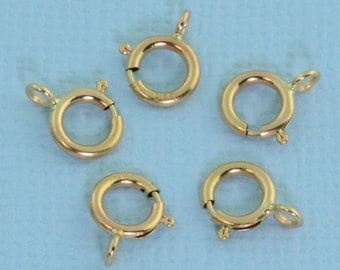 5.5MM 14k Solid Yellow Gold Spring Ring Clasp CLOSED (5)