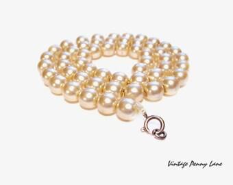 Broken Vintage Glass Pearl Bead Necklace - Scrap Jewelry
