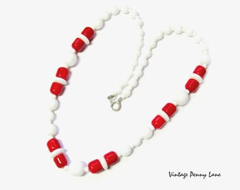 Vintage Bead Necklace, Red / White Milk Glass