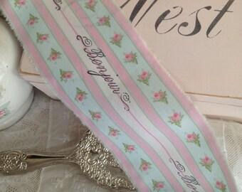 Pink Rose Ticking Trim  -  French Scritpt Bonjour - Hand Stamped Ribbon