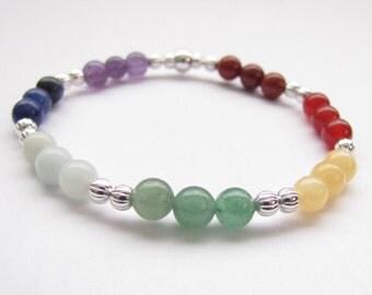 "Chakra Gemstone Beaded Bracelet, 7 1/2"", Chakra Energy Balancing Reiki Yoga Jewelry"