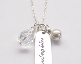 """Sterling Silver Enjoy the Journey Charm Swarovski Pearl Necklace 18"""" Graduation Gift, Inspirational Jewelry Message Gift"""