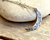 I Love You To The Moon And Back Crescent Moon Necklace With Cubic Zirconia Sterling Silver Chain Handmade Metalwork