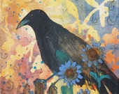 Thoughts On The Fence black bird print