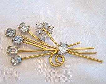 Vintage Floral Brooch Sterling Gold Overlay Rhinestone Crystal Restored