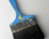 Vintage Large House Painter's Bristle Brush with Paint Splattered Bright Blue Wooden Handle, Use or Display