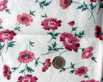 Vintage Fabric, Vintage 1930's Feedsack Cotton Feedsack Fabric, Pinks or Carnations Flowers on White