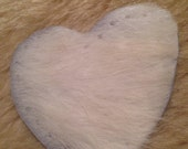 """White Heart Cowhide Leather Patch 3"""""""