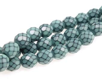 8mm LIGHT TEAL BLUE Snake Beads - 19 Pcs - Fire Polish Czech Glass Beads - Light Turquoise Beads - Sea Blue Aqua
