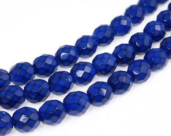 8mm COBALT BLUE Snake Beads - 19 Pcs - Fire Polish Czech Glass Beads - Rich Royal Blue Beads - Dark Sapphire Blue