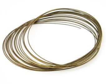 Large Oval Memory Wire - Antique Brass Memory Wire - Bronze Colored Hard Bracelet Wire - Package of About 20 Coils for Easy Wrap Bracelets