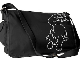 Wolf Pup Messenger Bag - little wolf school bag woodland wolf puppy asian wolf cute denim hiking bag