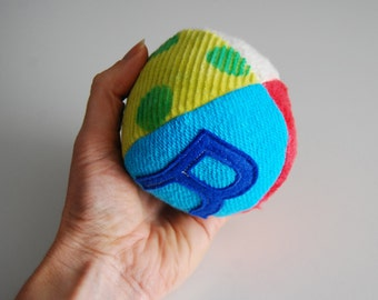 Custom Eco Organic GIRL Personalized Initial Fabric Fun Ball Rainbow Brights Montessori Play