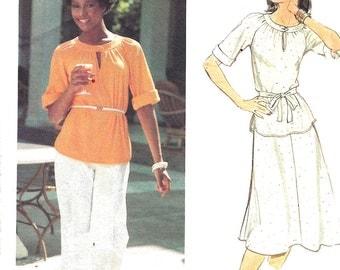 1970s Skirt Pattern Butterick Slit Neckline Top Pants Vintage  Women's Misses Uncut Size 12 Bust 34 Inches