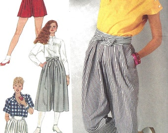 1980s Culottes Pattern Pants Shorts Vintage Simplicity Uncut Sewing Women's Misses Size 12 Waist 26 . 5 Inches
