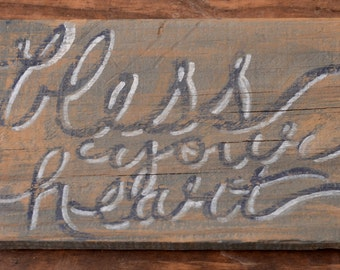 Bless Your Heart Wall Art Decor Reclaimed Wood Weathered Sign Southern Saying