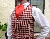 Burgundy Red and Tan Diamond Harlequin Patterned Gentlemen's Steampunk Vest