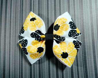 Yellow and Black Vintage Flower Hair Bow